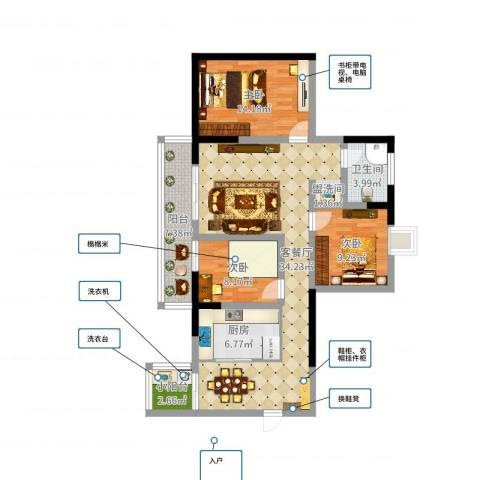 滨江翡翠城3室2厅1卫1厨108.00㎡户型图