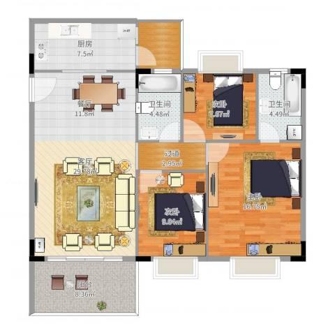 金旺新苑3室1厅2卫1厨118.00㎡户型图
