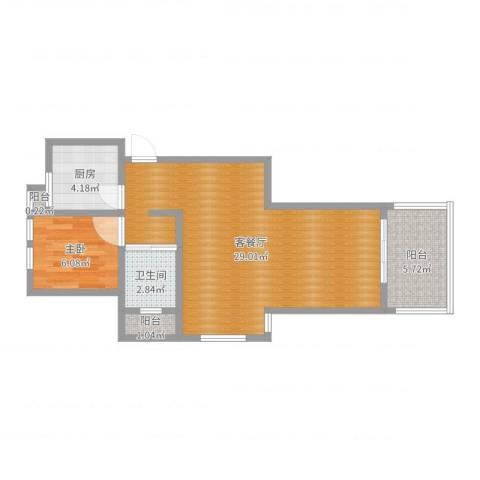 北城枫景园1室2厅1卫1厨61.00㎡户型图