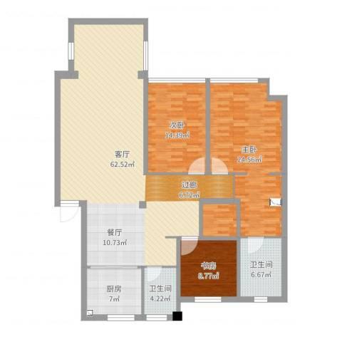 金域蓝山3室1厅2卫1厨164.00㎡户型图