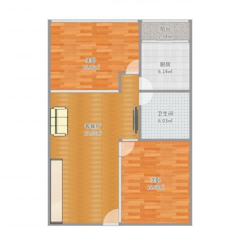 阳光假日公寓72㎡2房2室2厅1卫1厨96.00㎡户型图
