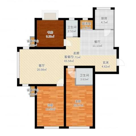 滨河城市经典3室2厅2卫1厨120.00㎡户型图