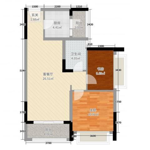 TCL康城四季2室2厅1卫1厨75.00㎡户型图