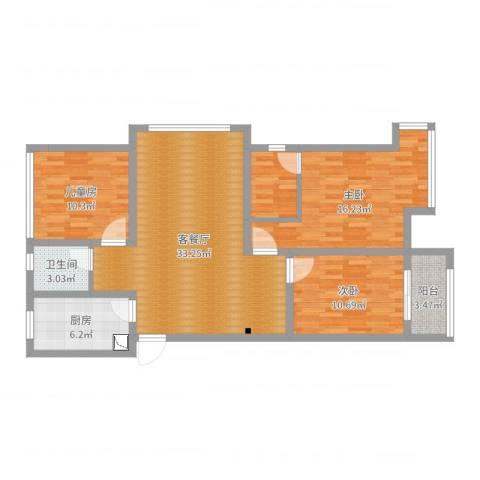 香颂小镇3室2厅1卫1厨109.00㎡户型图