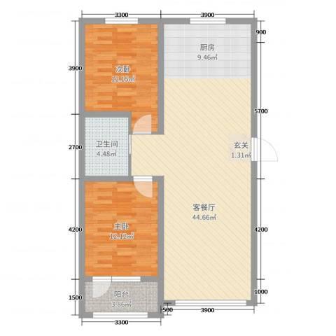 辽阳泛美华庭2室2厅1卫0厨109.00㎡户型图