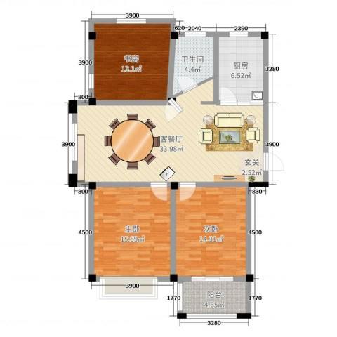 天恒王府3室2厅1卫1厨108.00㎡户型图