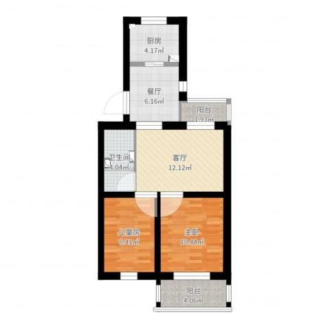 郁花园一里2室2厅1卫1厨74.00㎡户型图