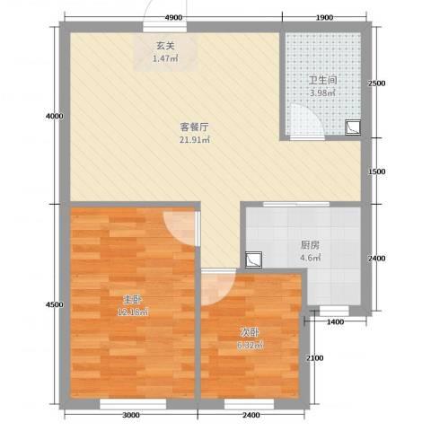宝地・银河广场2室2厅1卫1厨69.00㎡户型图