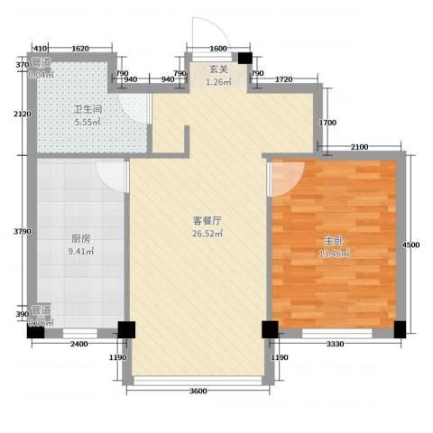 龙脉海景花园1室2厅1卫1厨80.00㎡户型图