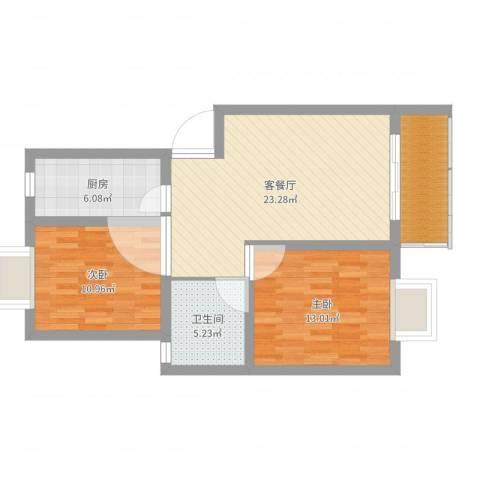 齐爱佳苑2室2厅1卫1厨80.00㎡户型图