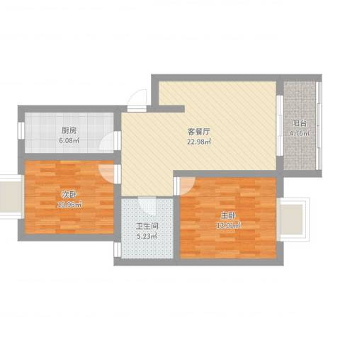 齐爱佳苑2室2厅1卫1厨79.00㎡户型图