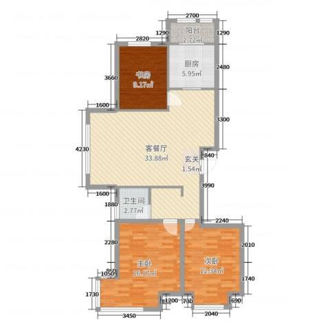 英伦华府3室2厅1卫1厨109.00㎡户型图