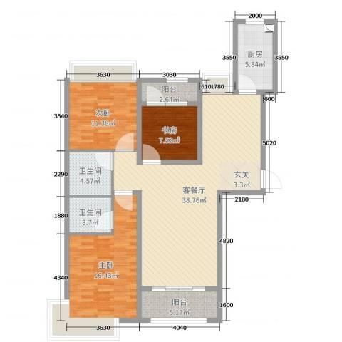 御天城-蟠龙居南区(B)3室2厅2卫1厨120.00㎡户型图