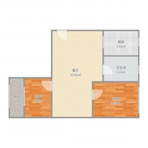 控江二村2室1厅1卫1厨66.00㎡户型图