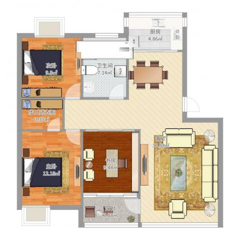 宁大花园3室1厅1卫1厨111.00㎡户型图