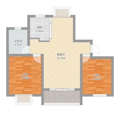玉宇新苑2室2厅1卫1厨80.00㎡户型图
