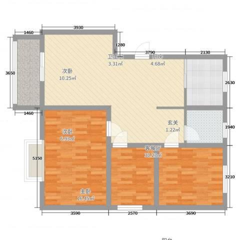 电机厂宿舍3室2厅1卫1厨95.00㎡户型图