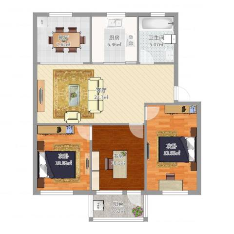 石碶北路一村3室2厅1卫1厨102.00㎡户型图