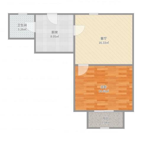 控江路1197弄小区1室1厅1卫1厨57.00㎡户型图