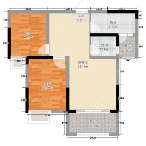 金科中央公园城2室2厅1卫1厨83.00㎡户型图
