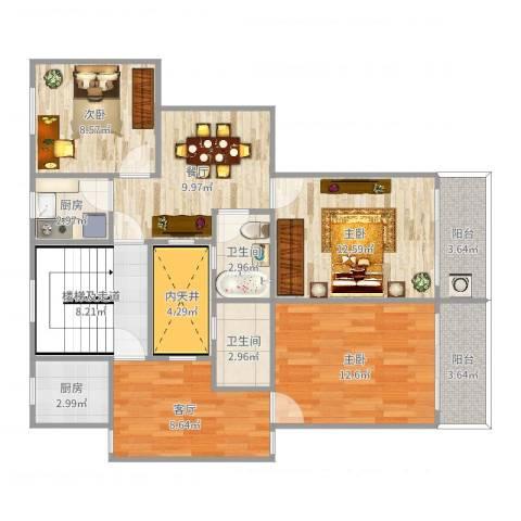 开鲁四村3室2厅2卫2厨105.00㎡户型图