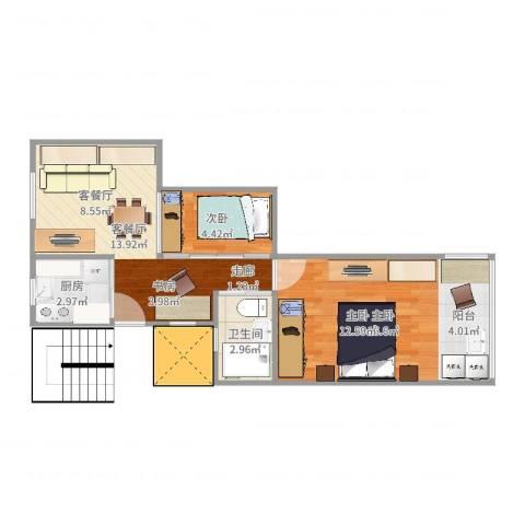 开鲁四村2室2厅1卫1厨51.00㎡户型图