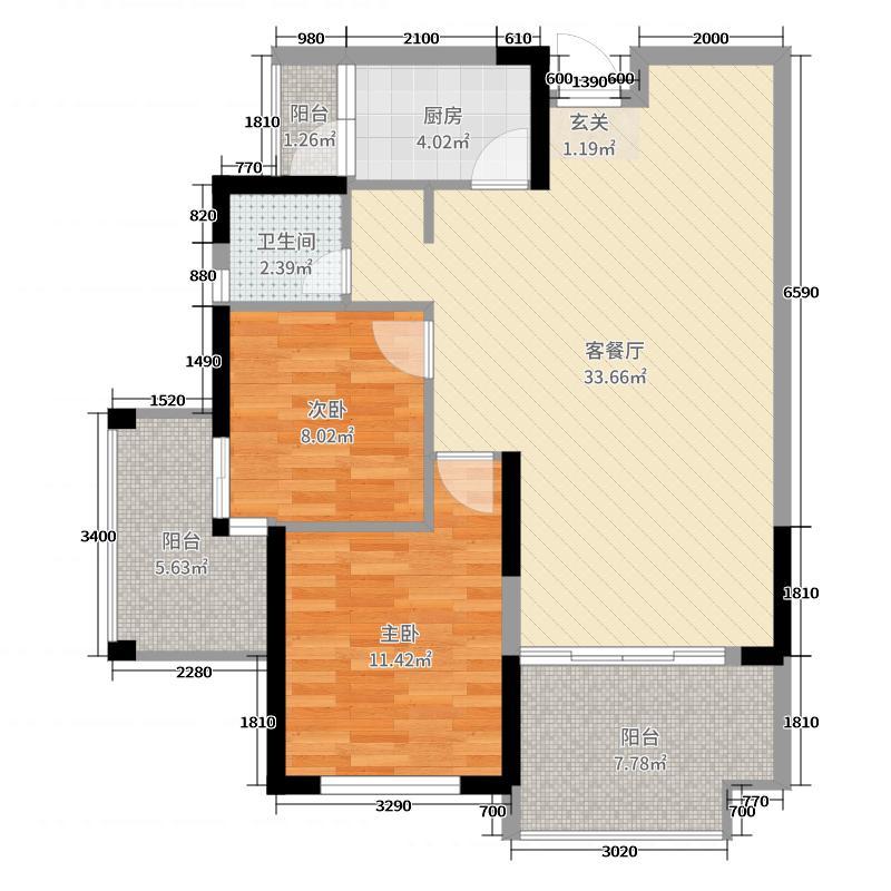 富兴鹏城89.23㎡D2户型2室2厅1卫1厨