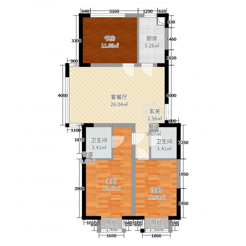 九星国际e世界116.60㎡1#09户型3室3厅2卫1厨