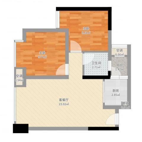 优派青年公寓2室2厅1卫1厨62.00㎡户型图