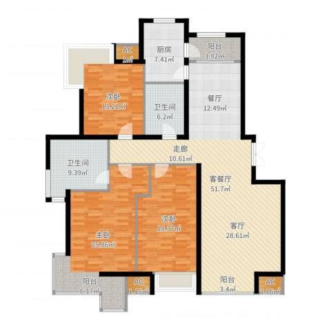 天亚水景城3室2厅2卫1厨174.00㎡户型图
