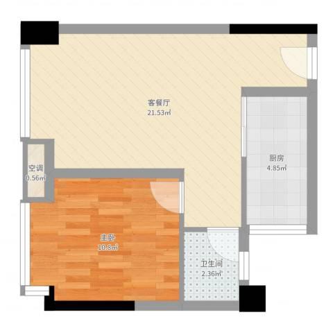 优派青年公寓1室2厅1卫1厨50.00㎡户型图