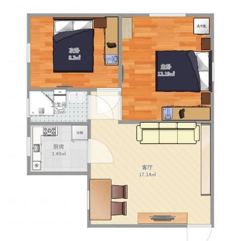 开鲁一村2室1厅1卫1厨54.00㎡户型图