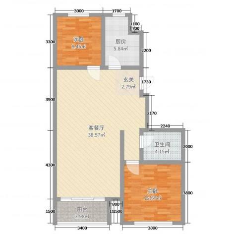 金山文汇2室2厅1卫1厨101.00㎡户型图