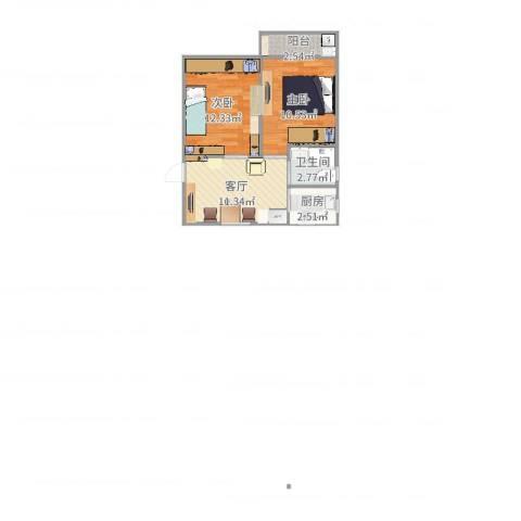 开鲁一村2室1厅1卫1厨51.00㎡户型图