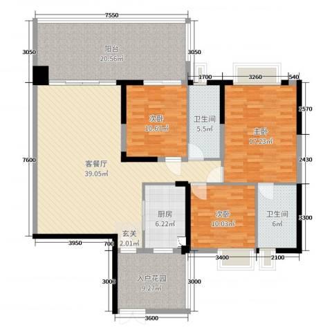 聚豪园3室2厅2卫1厨148.00㎡户型图