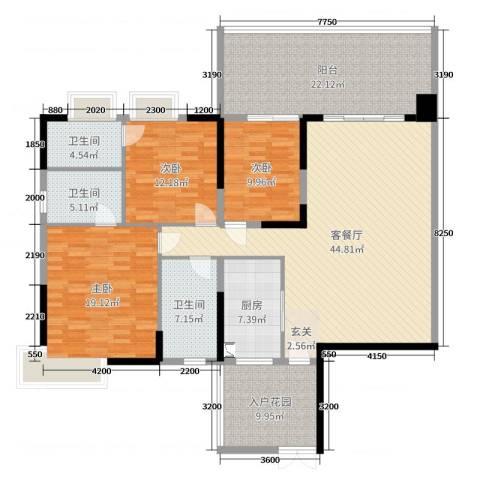 聚豪园3室2厅3卫1厨155.00㎡户型图