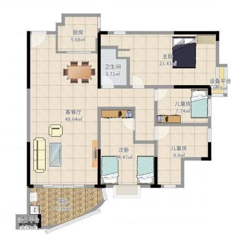 富豪山庄盛翠华庭4室2厅2卫2厨138.00㎡户型图