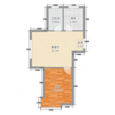 龙湾骏景1室2厅1卫1厨66.00㎡户型图