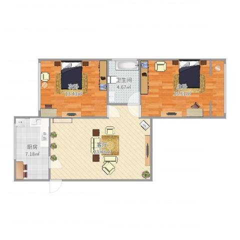控江路18弄小区2室1厅1卫1厨82.00㎡户型图