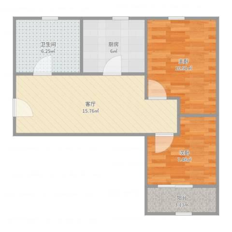 控江路645弄小区2室1厅1卫1厨62.00㎡户型图