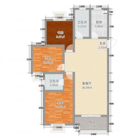 牡丹领秀汇3室2厅2卫1厨127.00㎡户型图