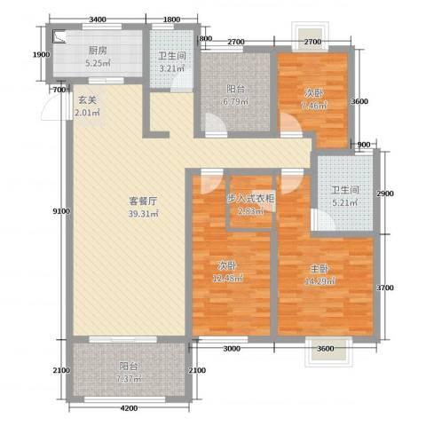 牡丹领秀汇3室2厅2卫1厨143.00㎡户型图