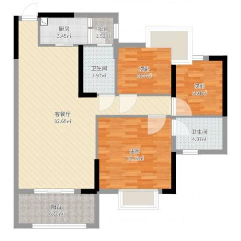 新君汇花地湾3室2厅2卫1厨100.00㎡户型图