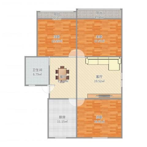 控江绿苑3室2厅1卫1厨133.00㎡户型图