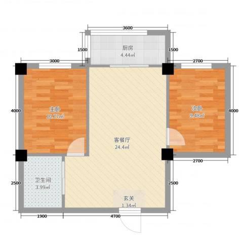 舍宅新城二期2室2厅1卫1厨73.00㎡户型图