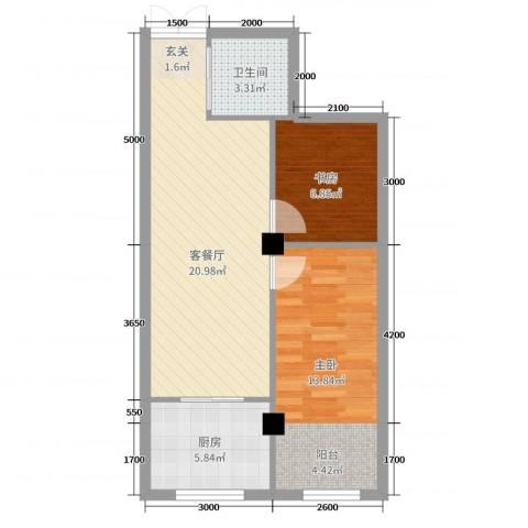 舍宅新城二期2室2厅1卫1厨69.00㎡户型图