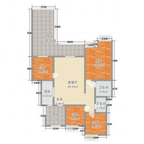 约克郡上林洋房4室2厅2卫1厨160.00㎡户型图