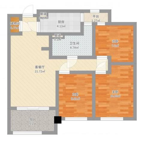 绿地海珀璞晖3室2厅1卫1厨79.00㎡户型图