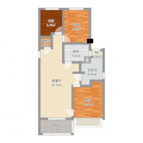 绿地海珀璞晖3室2厅1卫1厨82.00㎡户型图
