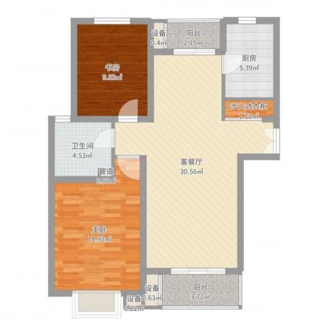 绿地海珀璞晖2室2厅1卫1厨92.00㎡户型图